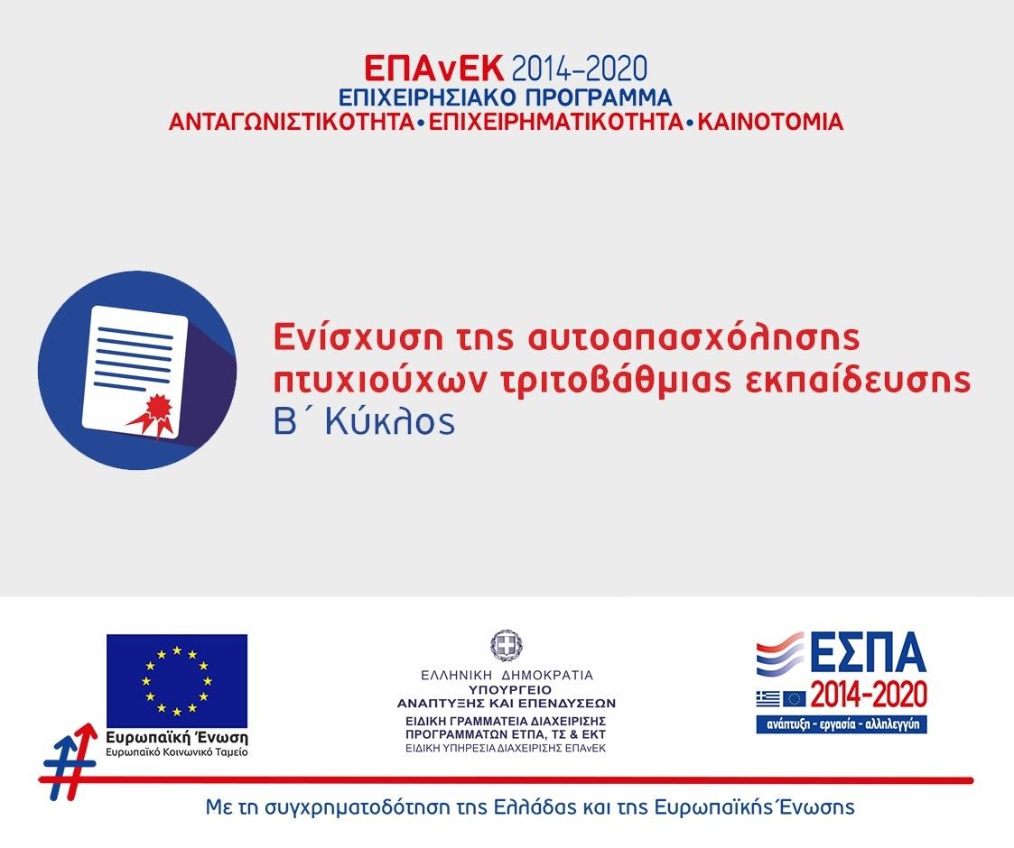 Προγραμματα 2014-2020 / Ενίσχυση Πτυχιούχων Τριτοβάθμιας Εκπαίδευσης (Β Κύκλος)